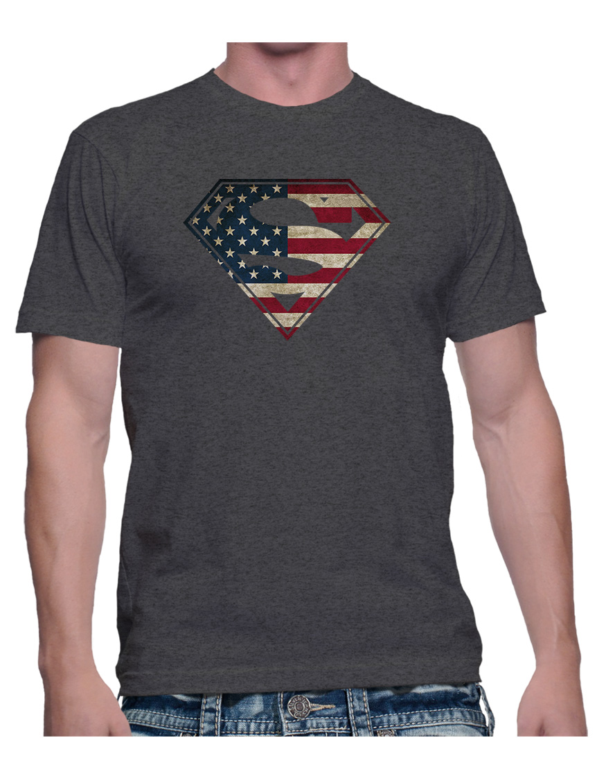 Adult American Flag In Superman Logo Shield T Shirt Dc Comics Tee