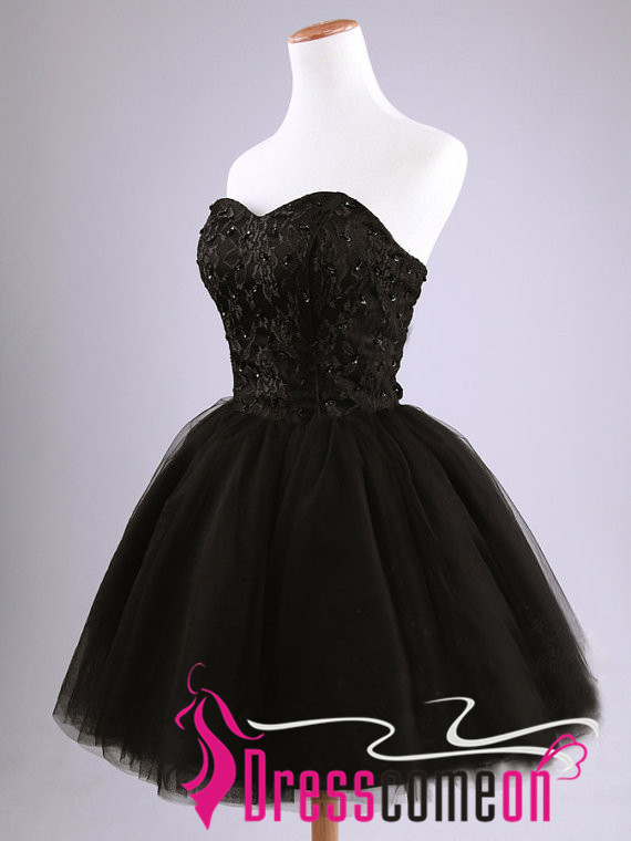 Black Short Prom Dress Simple Ball Gown Strapless Tulle Lace Party