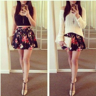 96cf2b6e4e8 Condole belt backless printing of two piece high waist vertical pleat mini  skirt suits - Thumbnail