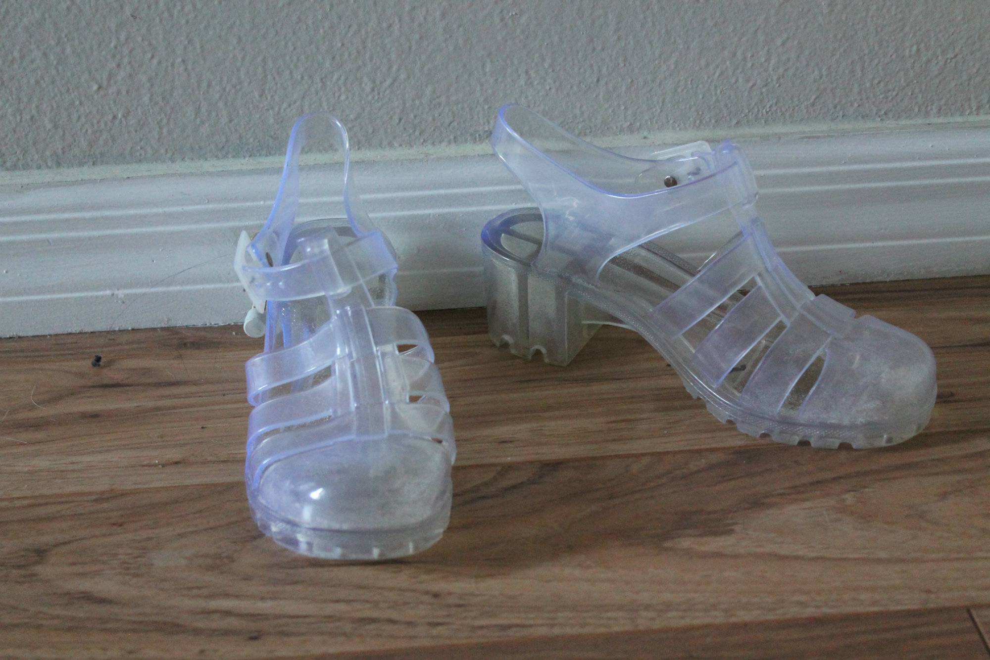 clear jelly platform shoes sold by