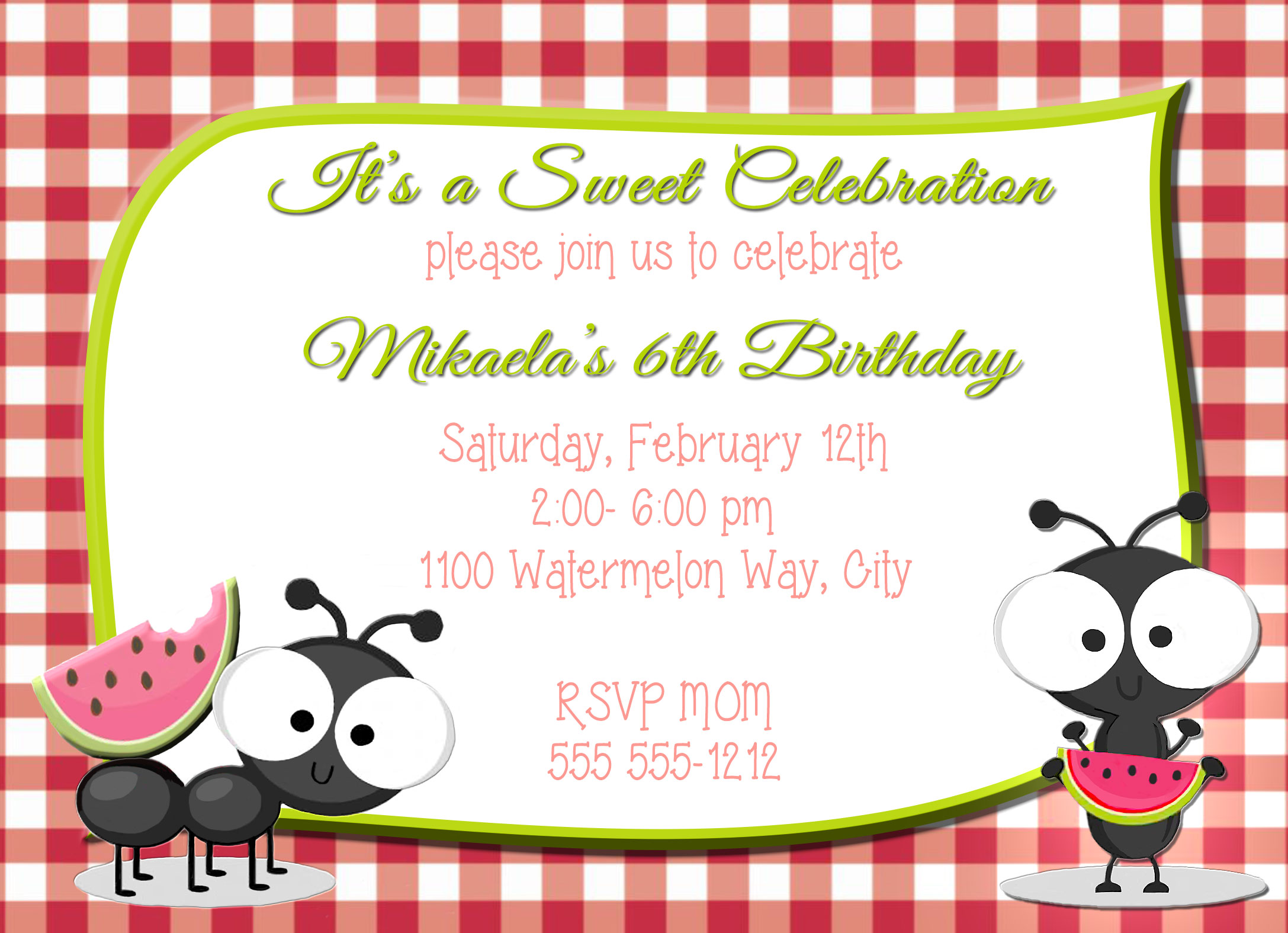 Picnic Ants Watermelon Personalized Birthday Invitation 1 Sided ...