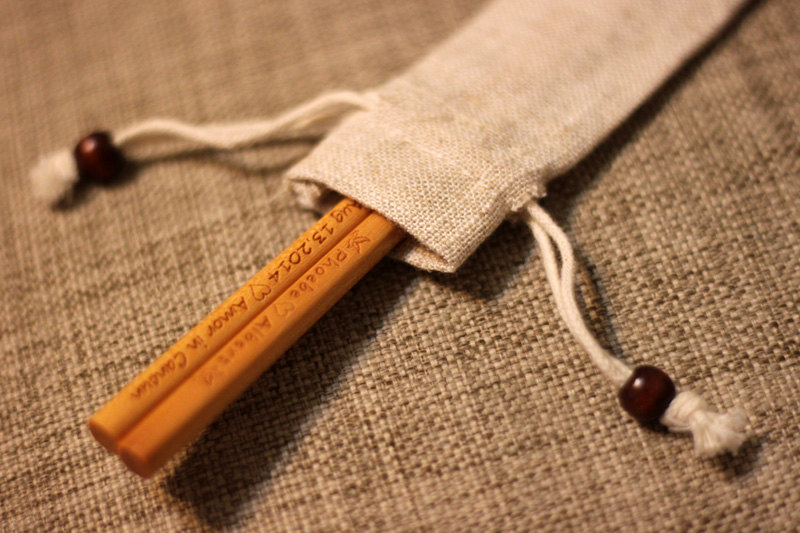Personalized Engraved Fine Wood Chopsticks Light Brown With Linen Pouch