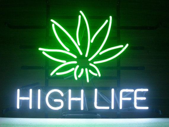 Brand New High Life Cannabis Marijuana Leaf Beer Bar Real Glass Tube