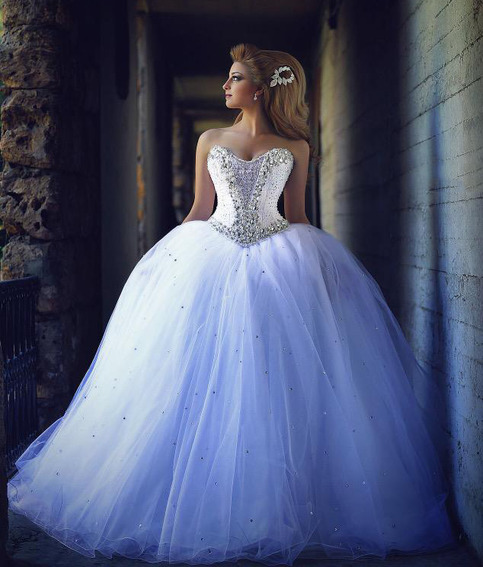 Romantic Sweetheart Ball Gown Tulle Wedding Dresses Bridal