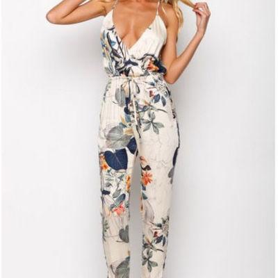 c0b2a2e49757 plunging v-neck floral print criss-cross back jumpsuit - Thumbnail 2