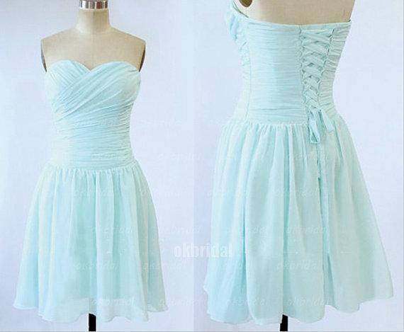 Light Blue Chiffon Bridesmaid Dress