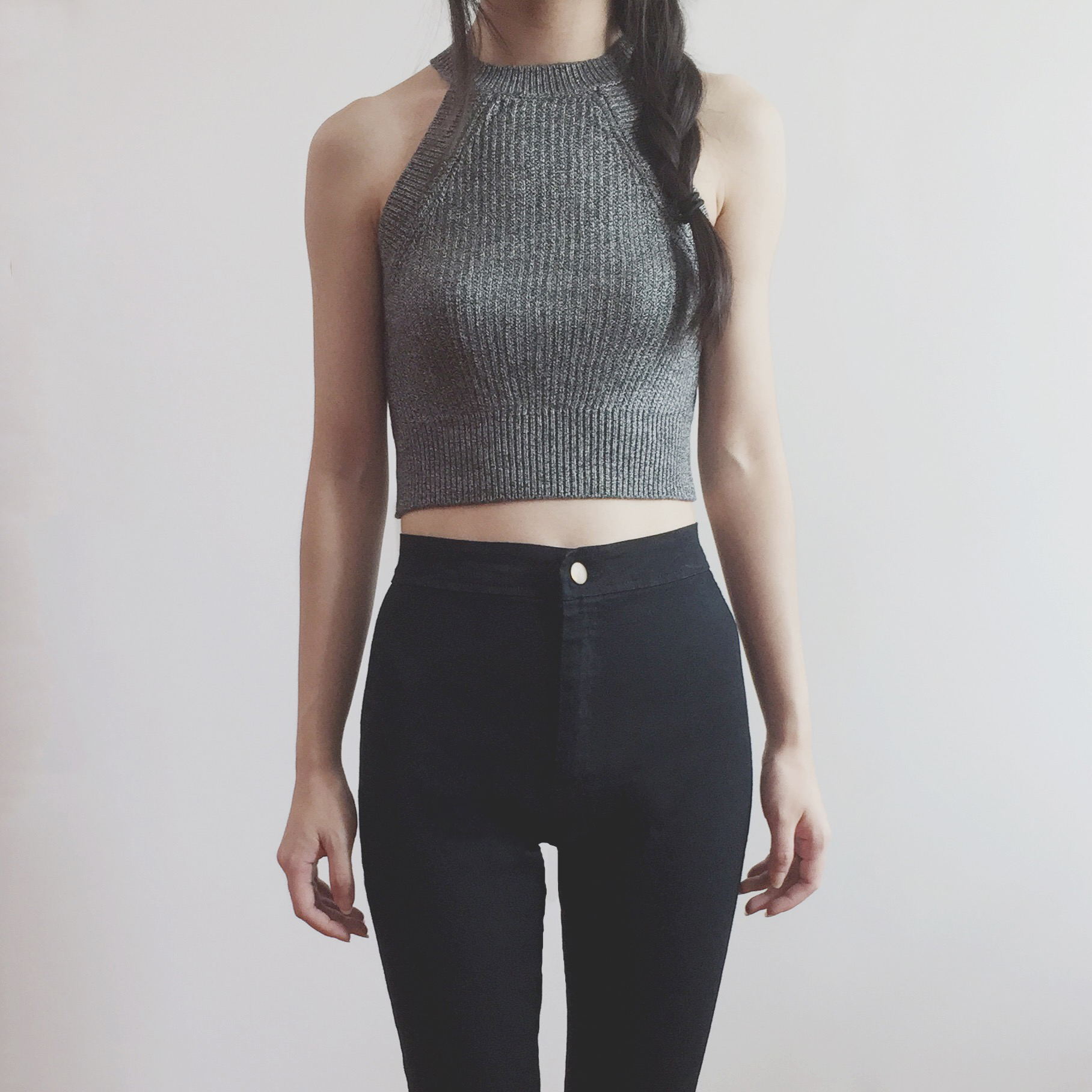 ec2cc759d738 Sweater Knit Halter Crop Top (Heather Grey) from Megoosta Fashion