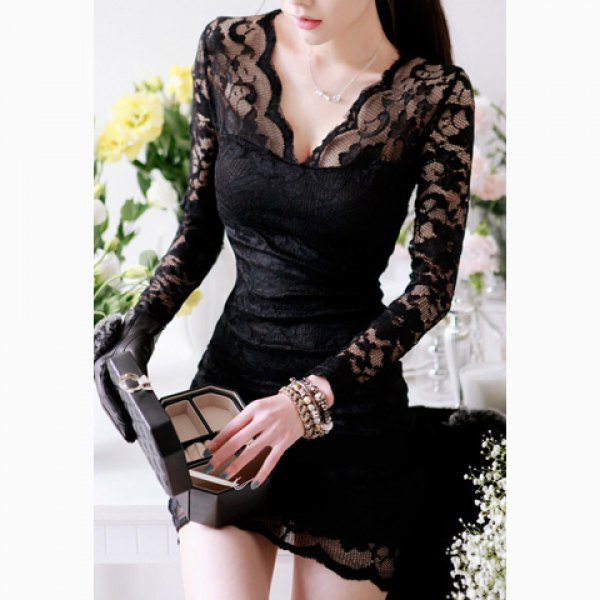 883ee59244 low-cut Lace Mini Dress on Storenvy