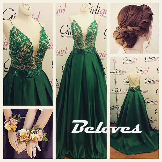 b0e5fa5c45fd Dark Green Satin Deep V Neck Prom Gown With Spaghetti Straps ...