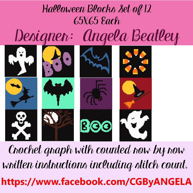 Halloween Quilt Blocks, crochet quilt blocks, crochet graph, quilt ...