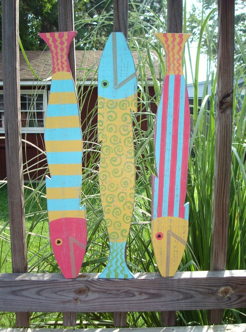 Justbeachyshop Fabulous Funky Picket Fence Fish Set Of 3
