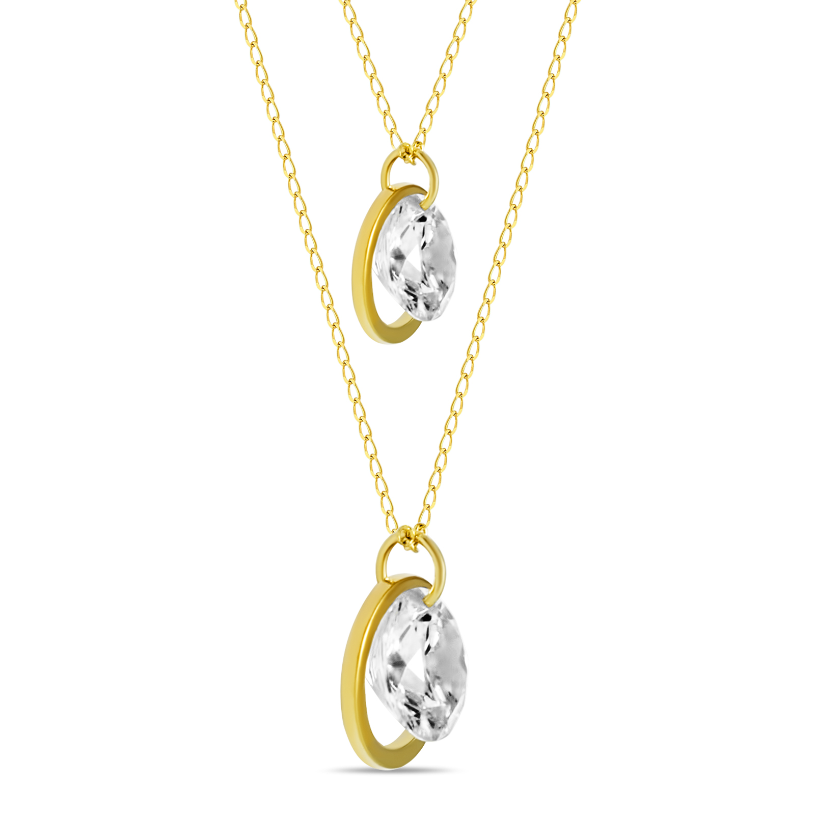 77b994a864b75 Circle Lariat Necklace w CZ Crystals Gold Plated Two Circle Necklace,  Modern Minimal Layered Necklace