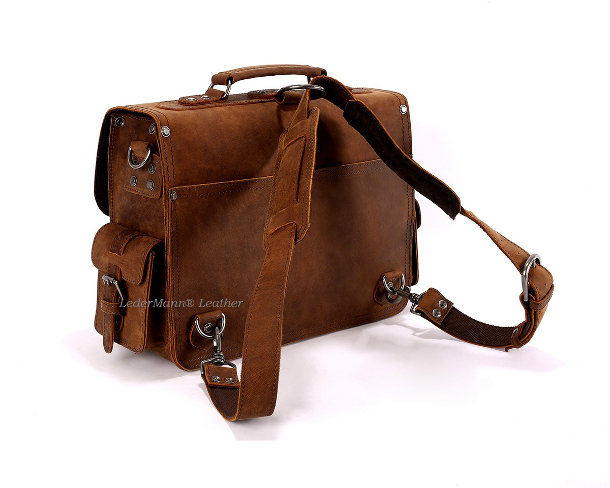 ... 16   Laptop Messenger Bag - Brown Vintage Style Leather Briefcase -  Thumbnail ... 8cd96010b6682