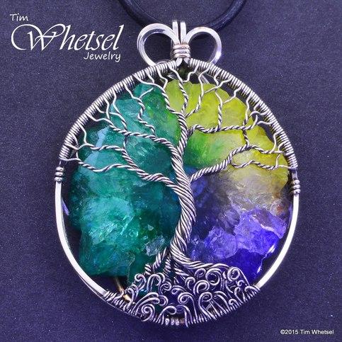 Sterling Silver Tree Of Life Pendant Solar Quartz