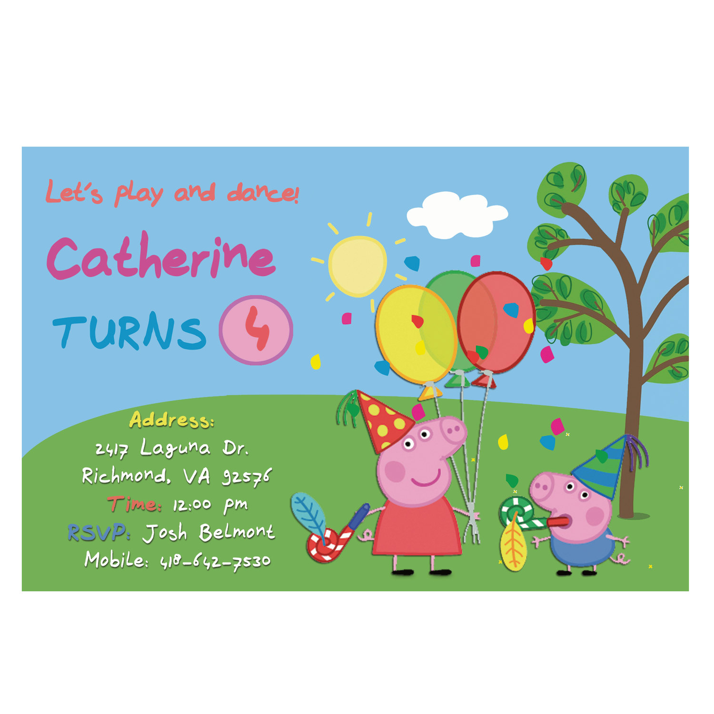 Pepa Pig Invitation Birthday Party Birthday Invitation Cards Birthday Party Invitation First Birthday Invitation Invitacion Sold By Artofjah