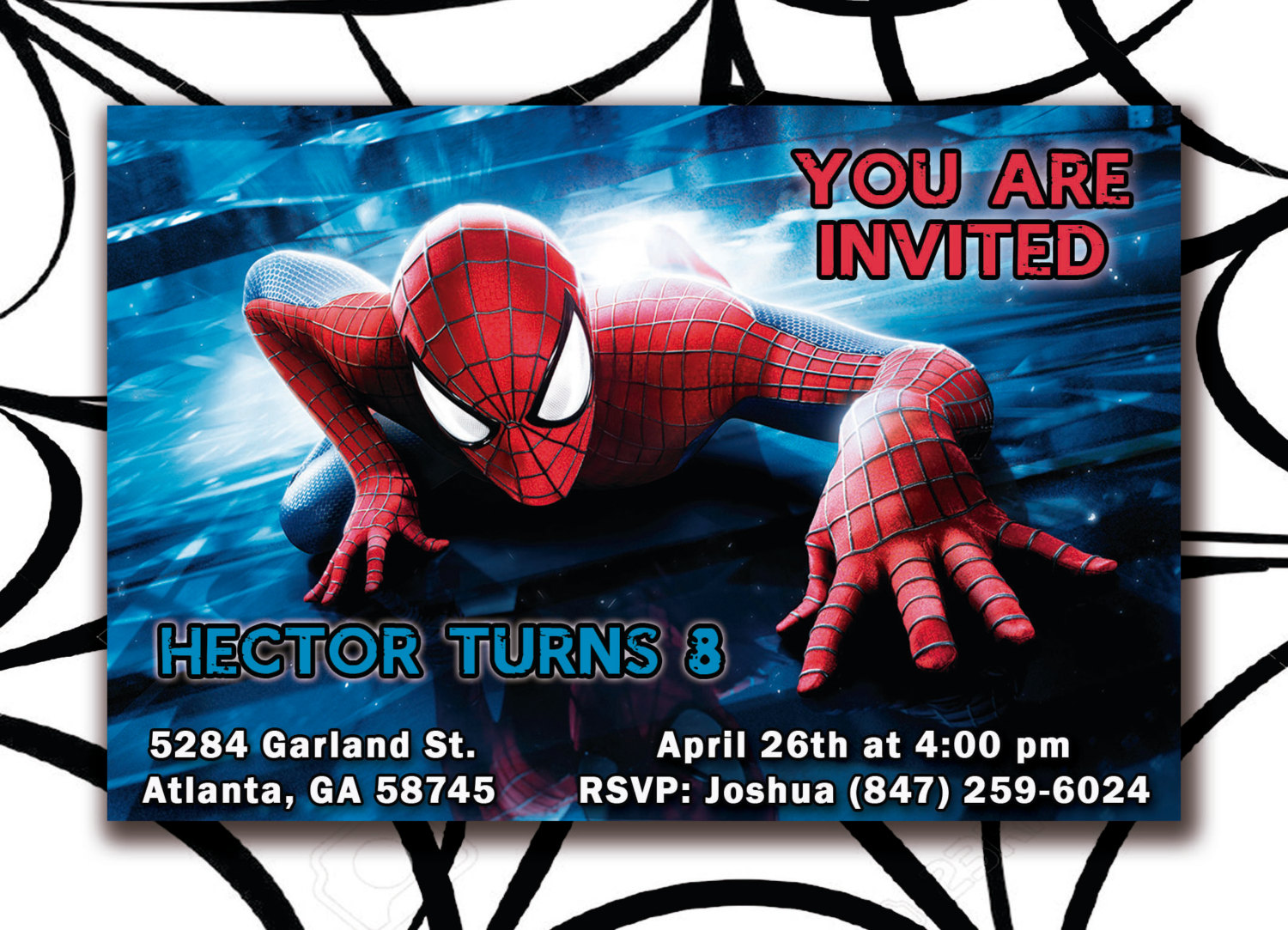 Blue Spiderman Invitation Birthday Invite Card Kids Party