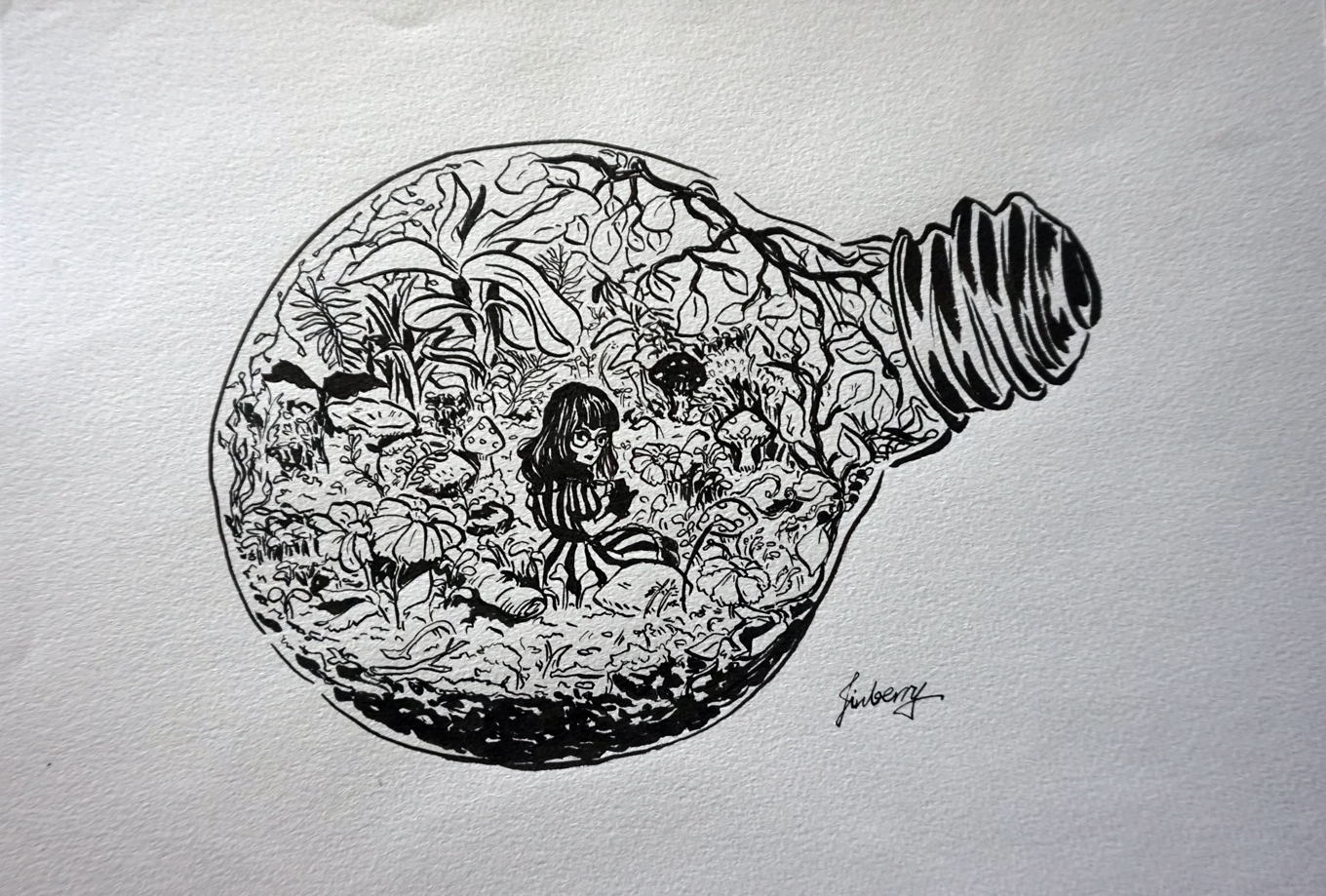 Living In A Terrarium Original Artwork Unframed Sold By Jinberry On Storenvy
