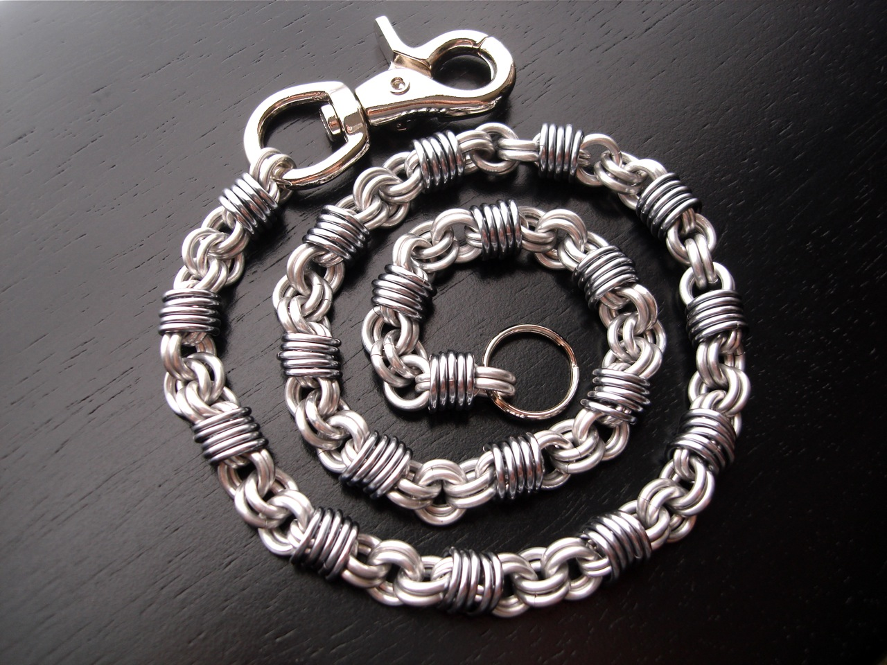 Handmade Wallet Chain Chainmaille Silver Black Ice Mens Accessory ...