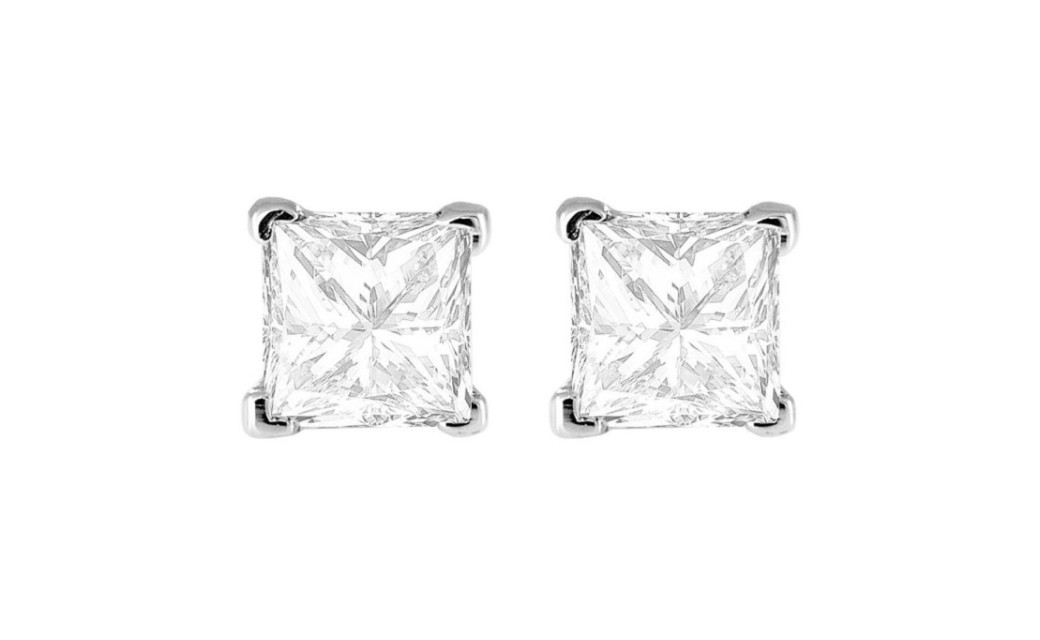 e90ed4ca8 14K Genuine White Gold White Princess 4 CT Cubic Zirconia Studs VS1 on  Storenvy