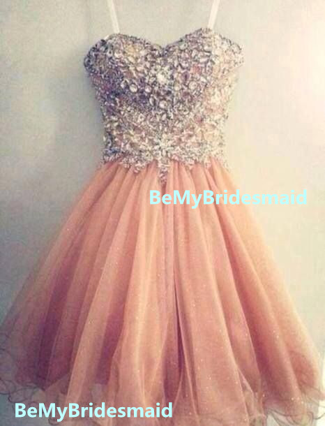 06da57b1931 Cute Tulle Spark Light Pink Sweetheart Short Prom Dress 2016 ...
