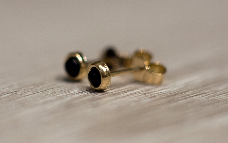 a815ce8b4 ... Black onyx stud earrings in 14k yellow gold, solid 14k gold jewelry,  black gemstone ...