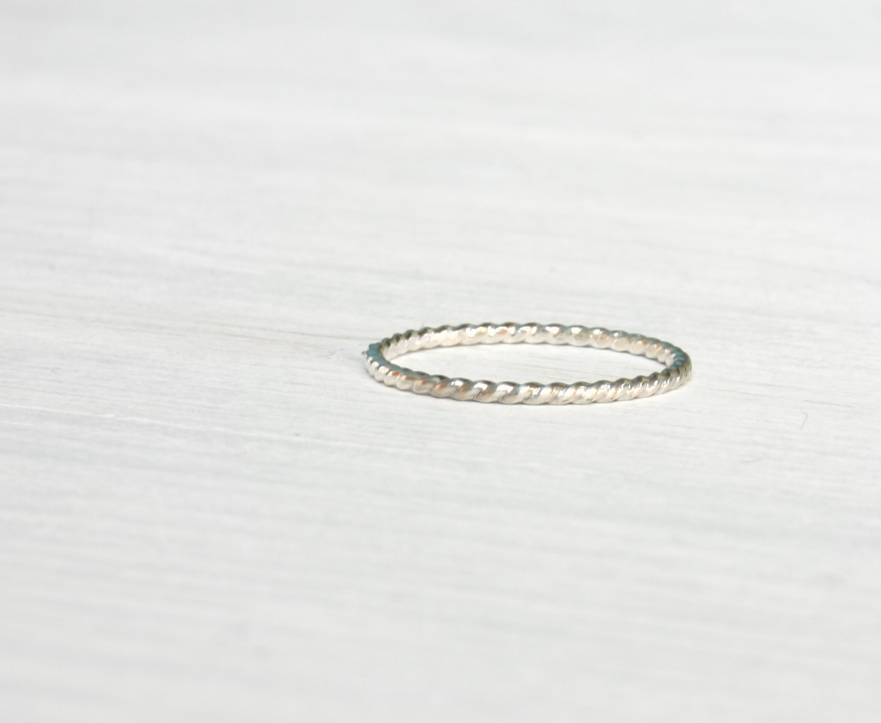 Stacking silver ring / twisted wire stacking ring in shiny silver ...