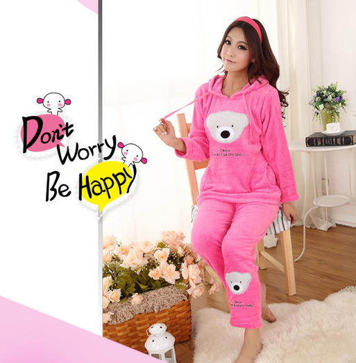 Women s coral fleece nighty sleepwear cute bear pattern autumn ... 1a92d9a31