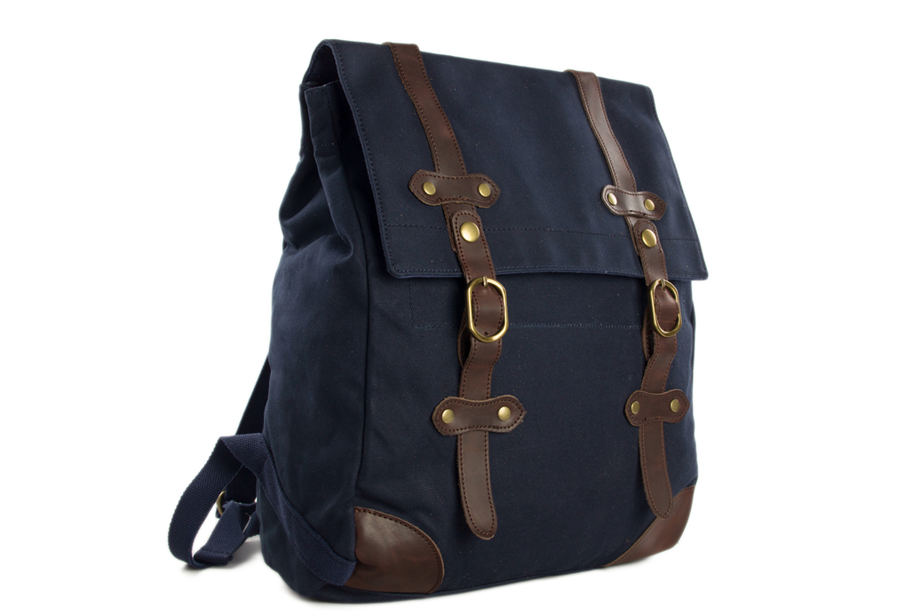 180515d5c03f Casual Canvas Leather Backpack   Waxed Canvas Backpack   School ...