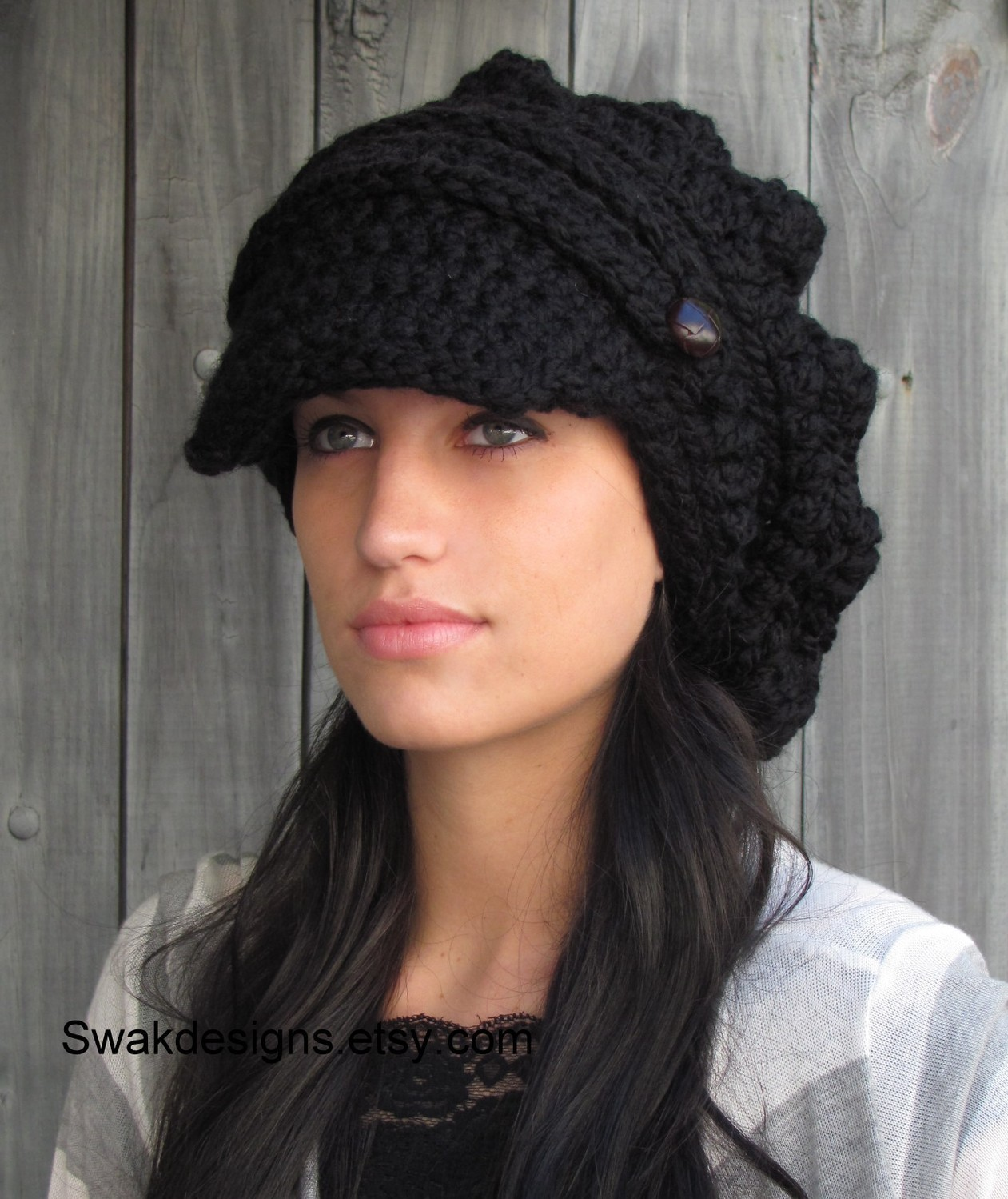 55a16e953d0 Black Slouchy Hat Womens Hat Two Button Band Newsboy Cap Handmade ...