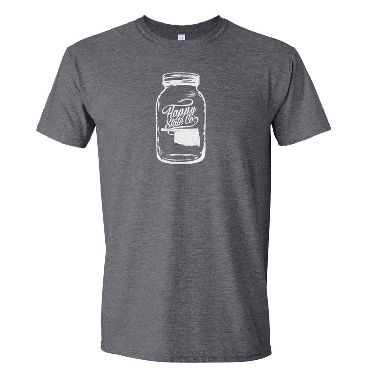 f1ef29a7 Happy State Co. Oklahoma Mason Jar Vintage Adult Shirt charcoal on ...