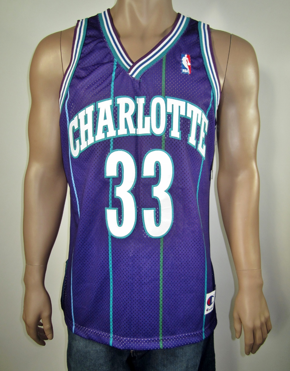 0a2ea4591be Alonzo Mourning Charlotte Hornets Authentic Champion Jersey 44 NWT ...