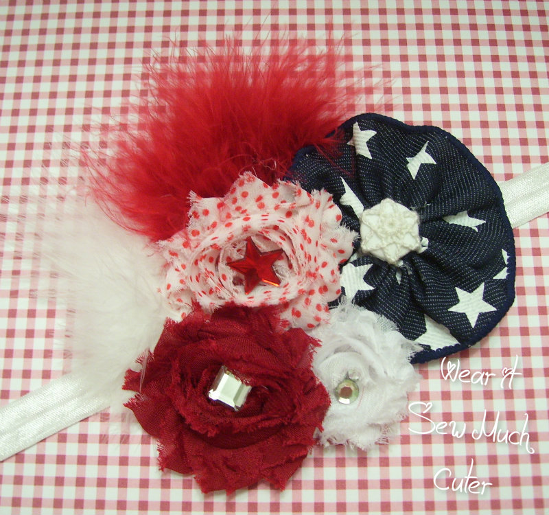 325520785 Patriotic Super Shabby Fascinator baby/toddler hair piece from Wear it Sew  Much Cuter