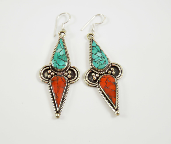 fd1caf423 Stunning Turquoise and Coral Tibetan Earrings on Storenvy