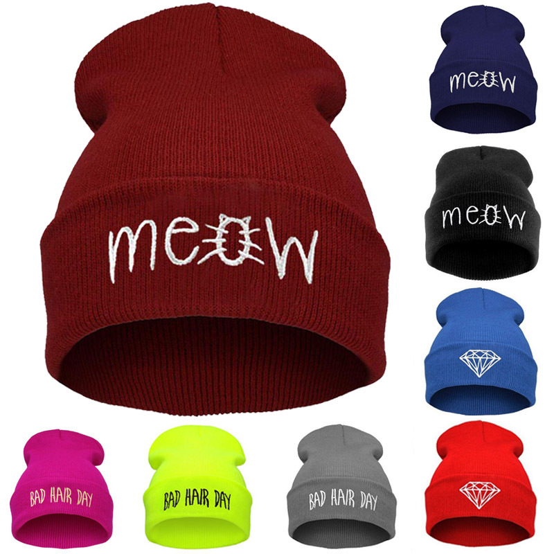 0fc505bf3e6 Winter hat for women and men meow beanies diamond knitted warm hats bad  hair day wool