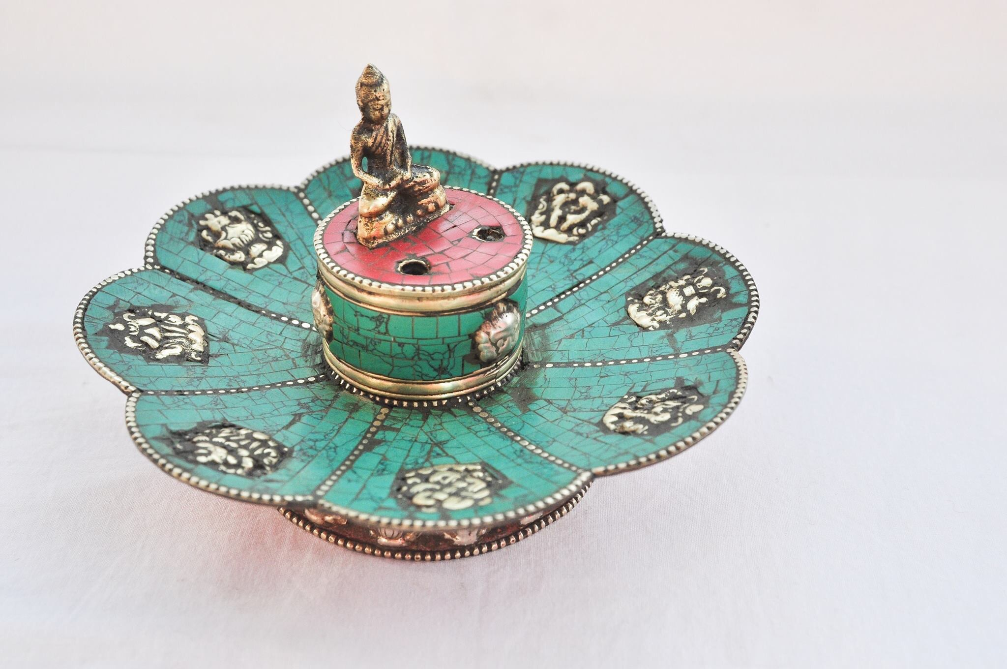 8eed27d96 Tibetan Turquoise Lotus Shape Incense Burner & Candle Holder with ...