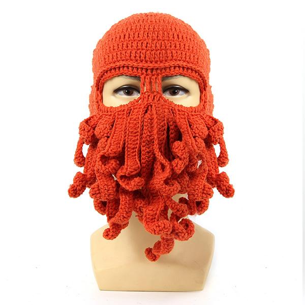 Unisex Winter Warm Knitted Crochet Wool Ski Face Mask Octopus Squid