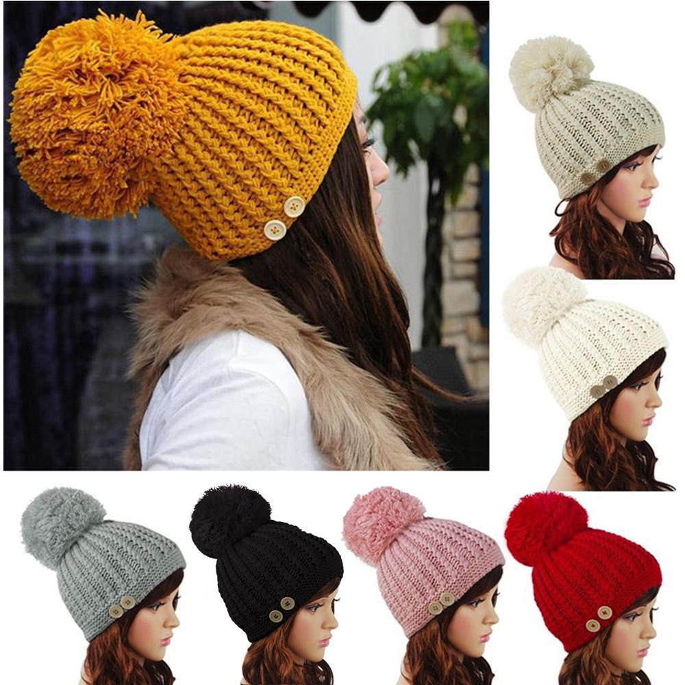 1cab4a12961 Women Ladies Button Crochet Knitted Beret Hat Ski Beanie Ball Wool Winter  Warm Cap