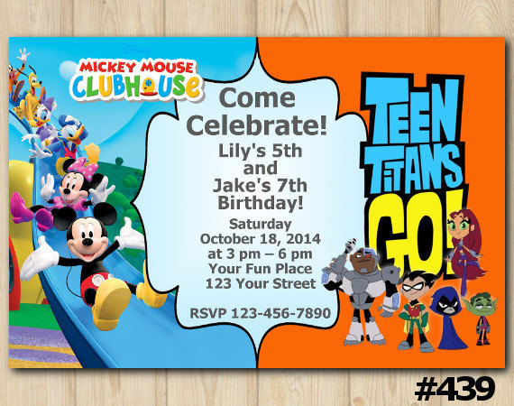 Twins Invitation Mickey Mouse Clubhouse