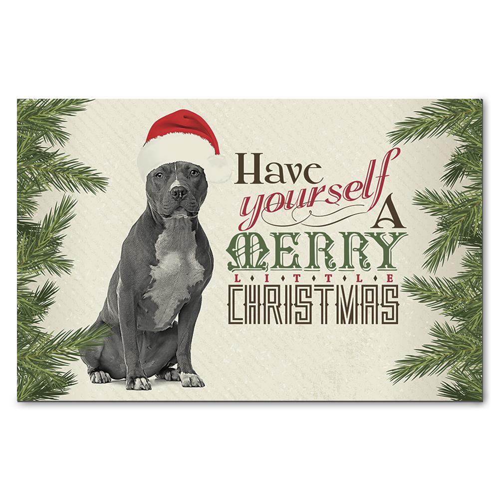 Pit Bull Terrier Merry Little Christmas Greeting Cards on Storenvy