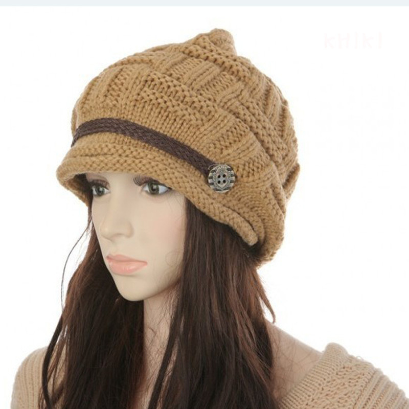 ... Women Girl Crochet Strap Knitting Caps Button Decorative Baggy Beanie  Hat - Thumbnail 3 ... 00515738ba00