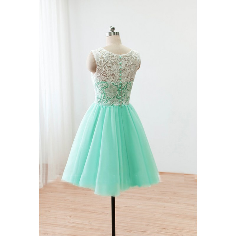 Short Lace Prom Dresses 2016 Ball Gown Mint Green Bridesmaid Dresses