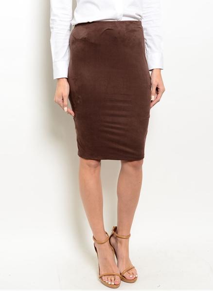 e50e847b41 Tres Chic Chocolate Brown Suede Pencil Skirt W/Slit · Très Chic ...