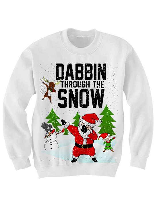 UGLY CHRISTMAS SWEATER DABBIN THROUGH THE SNOW SWEATER DAB SHIRT ...