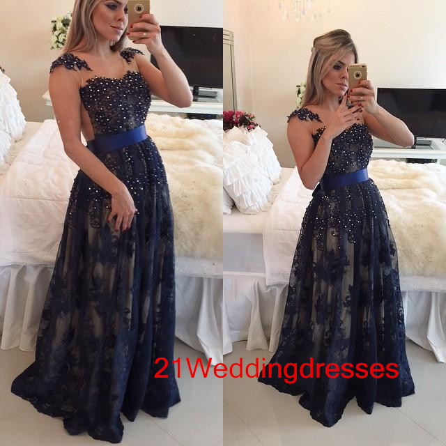 Hot Sales Navy Blue Prom Dresses,Lace Prom Dresses,Long Prom Dresses ...