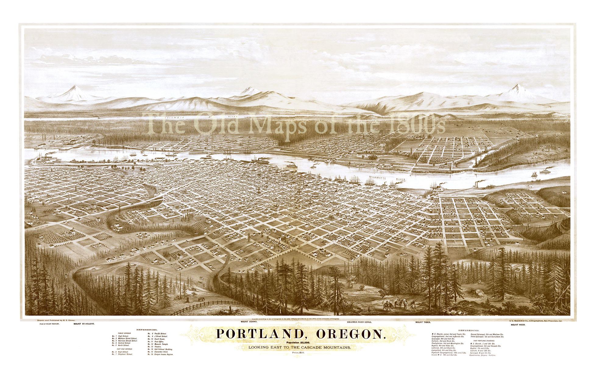 Vintage Oregon Map.Portland Oregon In 1879 Bird S Eye View Map Aerial Map Panorama