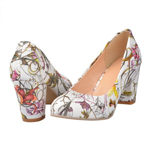 7832694aeed sz 5 to 9.5 yellow red blue white lily floral tattoo print pumps ...