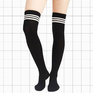 93ceea93b33 Black/White Striped Thigh High Socks
