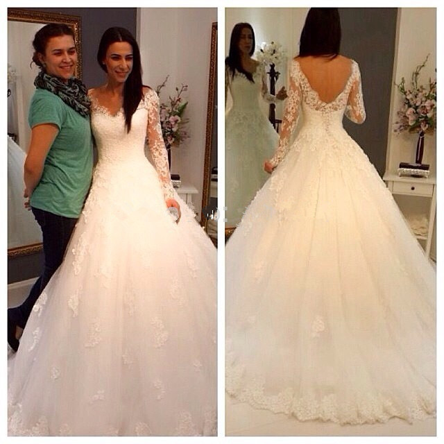 2016 Long Sleeves V Neck Bodice Wedding Gowns,Back V Lace Wedding ...