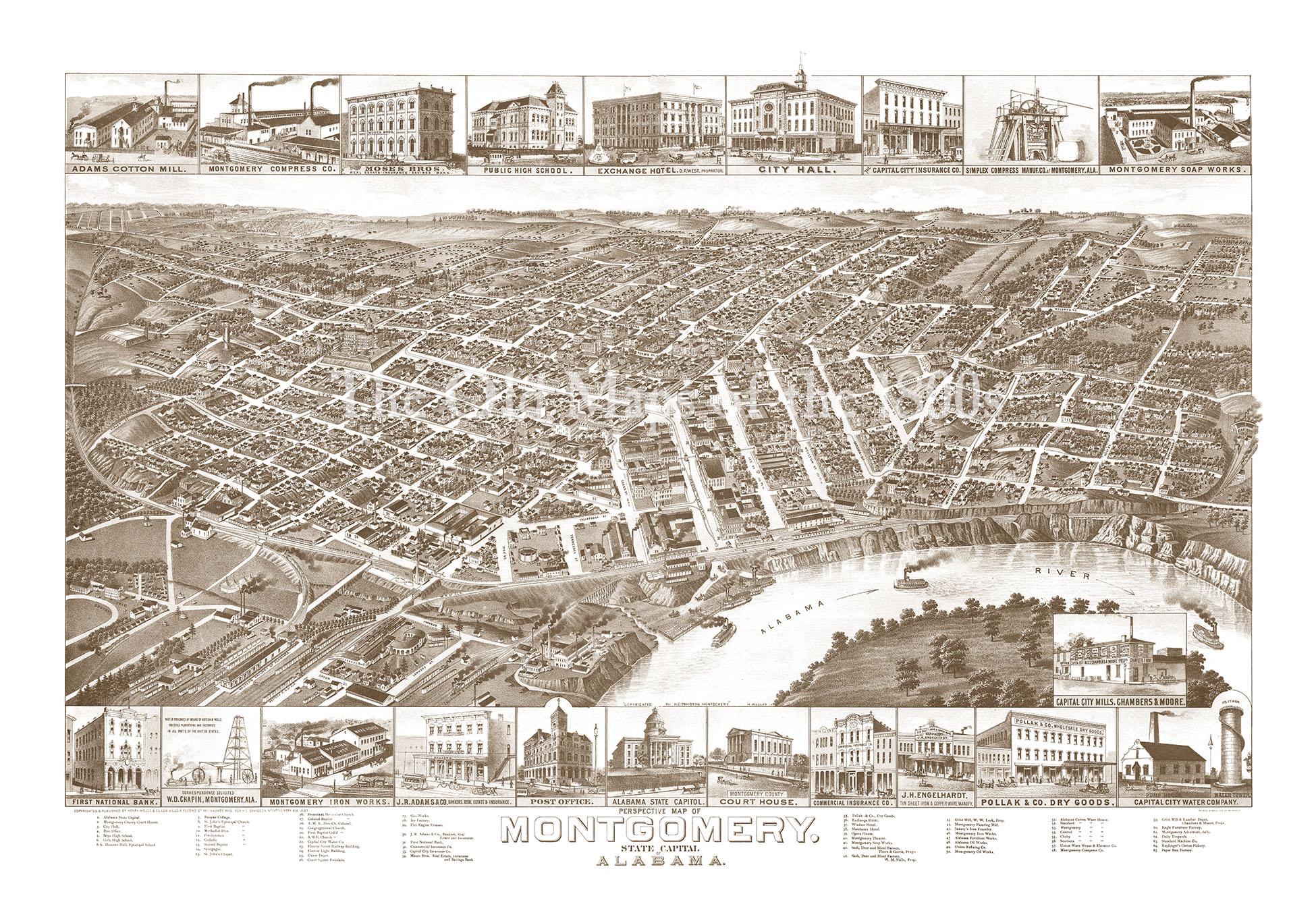 Montgomery, Alabama in 1887 - Bird\'s Eye View Map, Aerial, Panorama ...