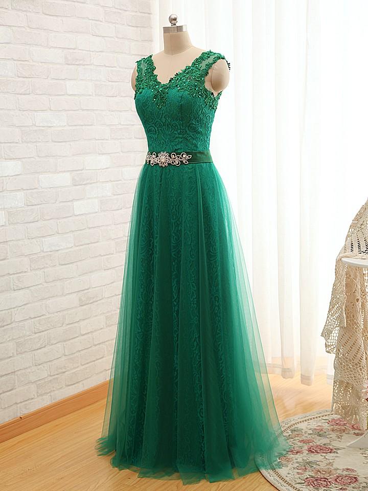 Green prom dress,long prom dress,lace prom dress,cheap ...